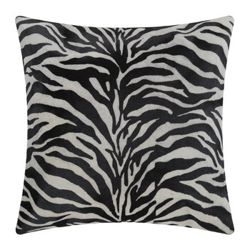 Zebra Print Cowhide Pillow - 45x45cm - Black/White