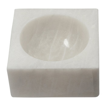 Marble Square Block Bowl - White