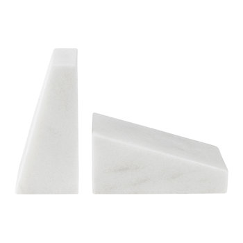 Marble Book Ends - White
