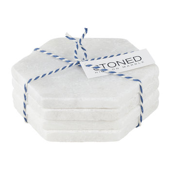 White Marble Coasters - Set of 4 - Hexagon