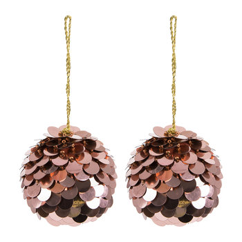Set of 2 Scalloped Sequin Tree Decorations - Copper