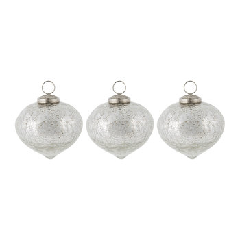 Set of 3 Crackled Silver Tree Decorations