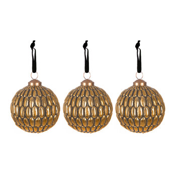 Set of 3 Old Gold Tree Decorations