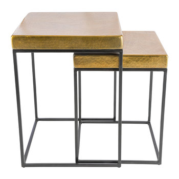 Cube Side Tables - Set of 2 - Antique Brass