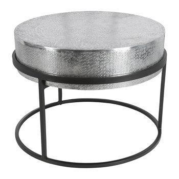 Deep Top Round Side Table - Silver