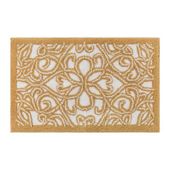 Damask Bath Mat - Gold/White