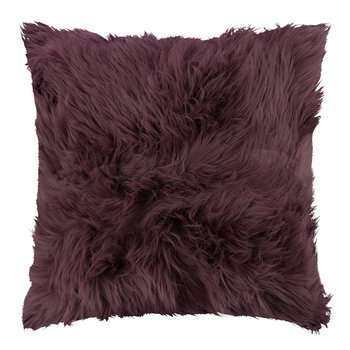 Sheepskin Cushion - 45x45cm - Aubergine
