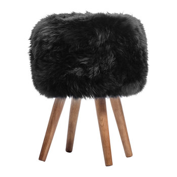 Sheepskin Stool - Black