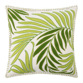 Tropical Palm Pillow - White - 46x46cm