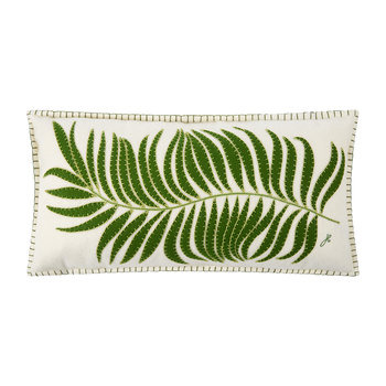 Tropical Palm Leaf Cushion - White - 60x30cm