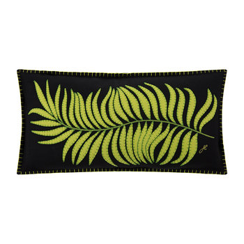 Tropical Palm Leaf Cushion - Black - 60x30cm
