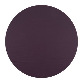 Round Leather Placemat - Aubergine
