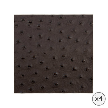 Emu Effect Recycled Leather Coasters - Set of 4 - Dark Chocolate