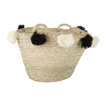 Bahia Pom Pom Magazine Holder - Black/Cream