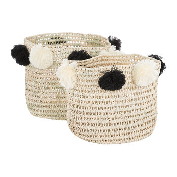 Bahia Pom Pom Baskets - Set of 2 - Black/Cream