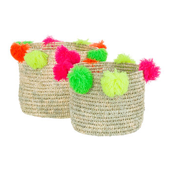 Bahia Pom Pom Baskets - Set of 2 - Multicolour