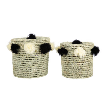 Bahia Pom Pom Baskets with Lid - Set of 2 - Black/Cream