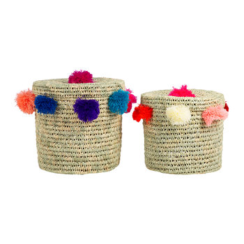 Bahia Pom Pom Baskets with Lid - Set of 2 - Multicolour