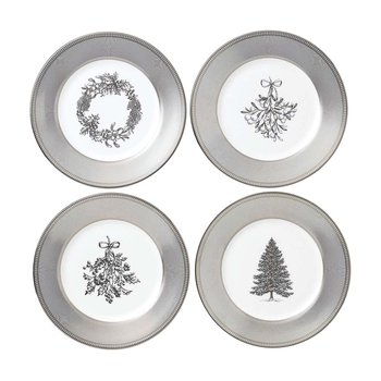 Festive Silver Plates - Set of 4