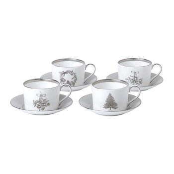 Festive Teacup & Saucer - Set of 4