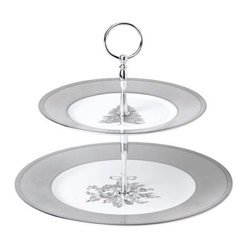 Festive Silver 2-Tier Cake Stand