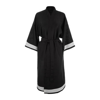 Plain Silk Robe - Black