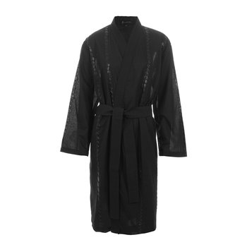 Bubble Embroidered Bathrobe - Black
