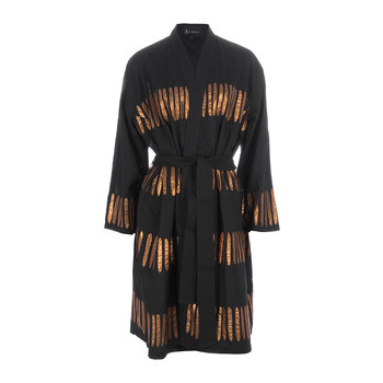 Dash Embroidered Bathrobe - Black/Copper