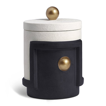 Cubisme Lidded Candle - Black/White/Gold