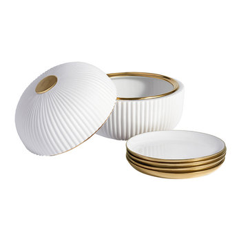 Ionic Box & Plates - Porcelain & Brass - Set of 4