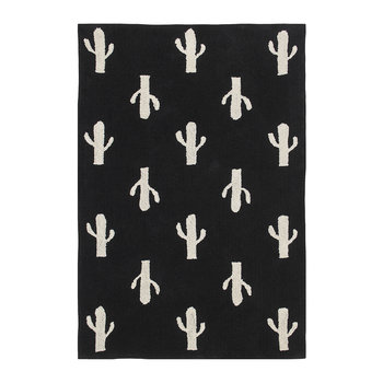 Cactus Stamp Washable Rug - Black & White - 140x200cm