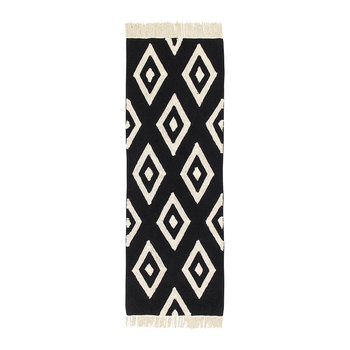 Diamonds Washable Rug - Black & White - 80x230cm
