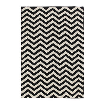 Zig-Zag Washable Rug - Black & White - 140x200cm