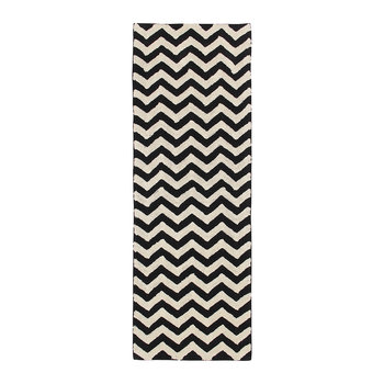 Zig-Zag Washable Runner Rug - Black & White - 80x230cm