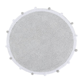 Bubbly Round Washable Rug - 120cm - Light Grey