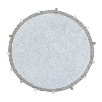 Bubbly Round Washable Rug - 120cm - Soft Blue