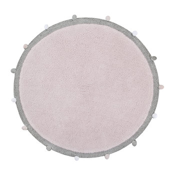 Bubbly Round Washable Rug - 120cm - Soft Pink