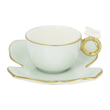 Butterfly Coffee Box - Set of 2 Cups & Butterfly Saucers - Aquamarine