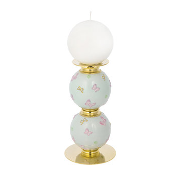 Butterfly Candle Holder - Aquamarine/Gold