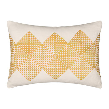 Geotile Cushion - 40x60cm - Chartreuse & Ivory Linen