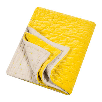 Velvet Linen Bedspread/Quilted Throw - Chartreuse
