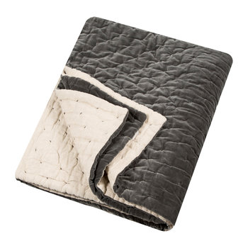 Velvet Linen Bedspread/Quilted Throw - Slate