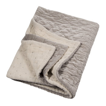 Velvet Linen Bedspread/Quilted Throw - Oyster Gray