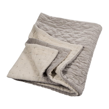 Velvet Linen Bedspread/Quilted Throw - Oyster Grey