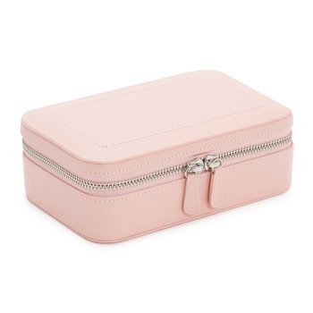 Sophia Zip Jewellery Case - Leather - Rose Quartz