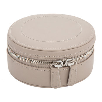 Sophia Mini Round Zip Jewellery Case - Leather - Mink