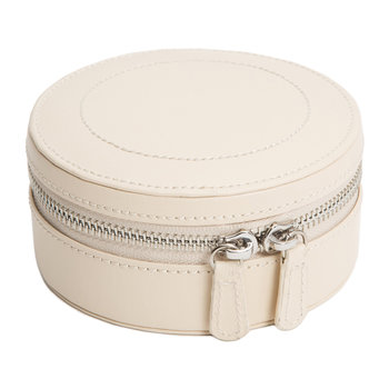 Sophia Mini Round Zip Jewellery Case - Leather - Ivory
