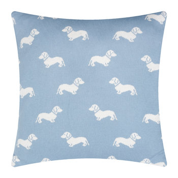 Knitted Dachshund Pillow - 50x50cm - Blue