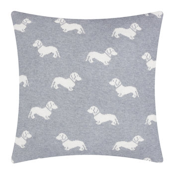 Knitted Dachshund Cushion - 50x50cm - Grey