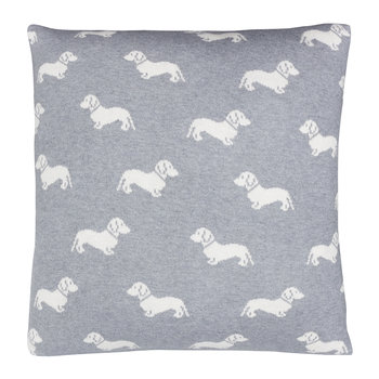Knitted Dachshund Pillow - 50x50cm - Grey